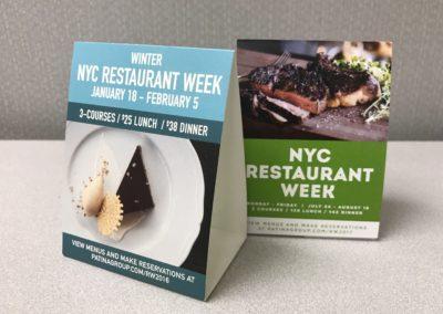 Restaurant Week Table Tents